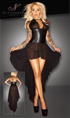 NOIR Korzetové šaty s dlouhou asymetrickou sukní