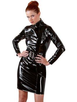 Lakované šaty s dlouhými rukávy a páskem – Dámské šaty a minišaty