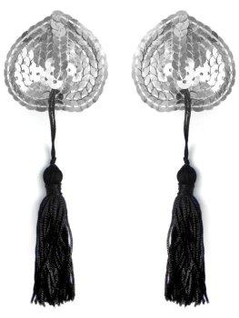 Ozdobná srdíčka na bradavky se střapci, stříbrná – Vzrušující nálepky na bradavky