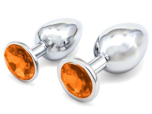 Anální kolík se šperkem, oranžový