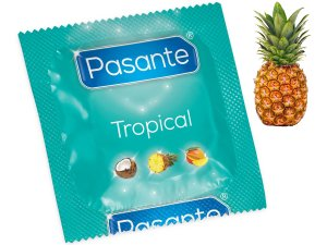 Kondom Pasante Tropical Pineapple - ananas – Kondomy s příchutí na orální sex