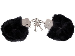 Pouta s kožíškem, černá – Pouta, lana a pomůcky pro bondage
