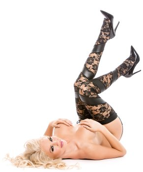 Krajkové punčochy s lesklými vsadkami + kalhotky s podvazky – Samodržicí dámské punčochy