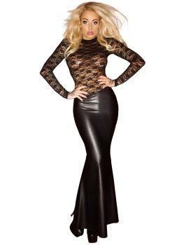 NOIR Dlouhé lesklé šaty s krajkovým topem – Dámské sexy šaty a minišaty