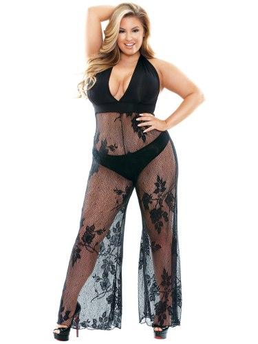 Catsuit Nicki s hlubokým výstřihem a širokými nohavicemi