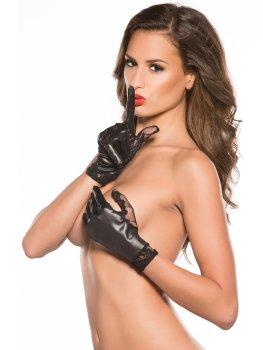 Lesklé rukavice s krajkovou vsadkou – Sexy rukavice a návleky na ruce