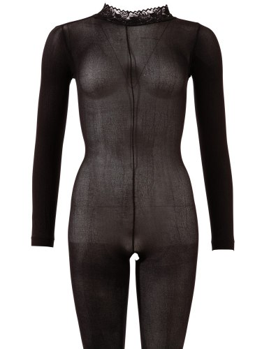 Průsvitný catsuit s krajkovým límečkem a otevřeným rozkrokem