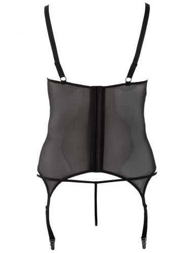 Lesklý korzet s krajkou, průstřihy na prsou a podvazky + kalhotky (tanga)
