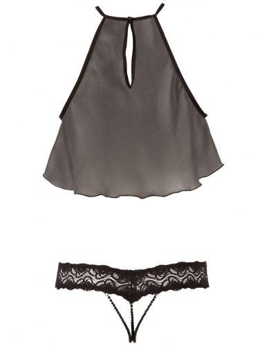 Vzrušující sada - lehoučký průsvitný top a krajkové kalhotky s perličkami