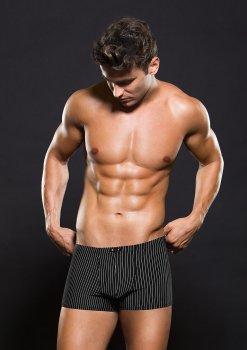 Boxerky s bílým proužkem, černé – Pánské boxerky, slipy, tanga a jocksy