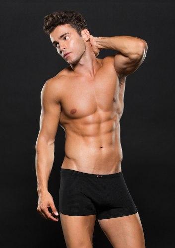 Boxerky s jemným čtverečkovaným vzorem, černé