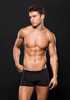 Boxerky s průsvitnými proužky, černé – Pánské boxerky, slipy, tanga a joksy