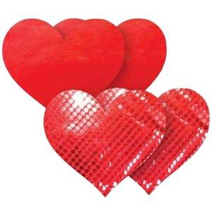 Samolepicí ozdoby na bradavky Nippies Red Heart – Vzrušující intimní šperky, ozdoby a bižuterie