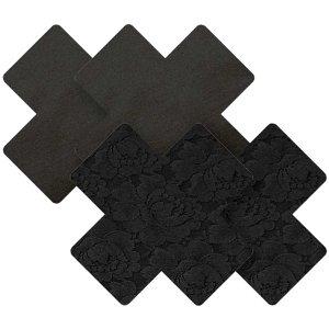 Samolepicí ozdoby na bradavky Nippies Black Cross – Vzrušující intimní šperky, ozdoby a bižuterie