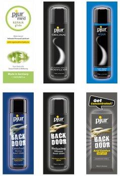 Degustační balíček lubrikačních gelů a análního séra PJUR – Výhodná balení erotických pomůcek a doplňků