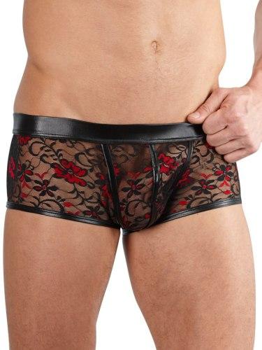 Pánské krajkové boxerky s lesklými detaily, černo-červené