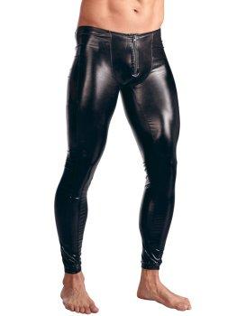 Lesklé pánské legíny se zipem v rozkroku – Pánské kalhoty a legíny