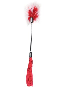 Důtky s latexovými třásněmi a peříčkovým šimrátkem Whip and Tickle, červené – Biče, důtky a rákosky