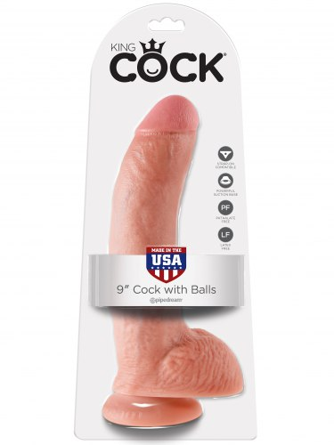 "Realistické dildo s varlaty King Cock 9"""