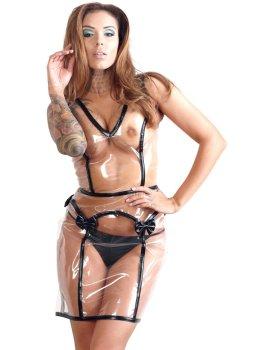 Transparentní šaty se šněrováním a mašličkami – BDSM postroje a fetiš oblečení