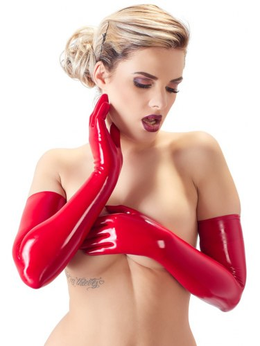 Dlouhé latexové rukavice, červené