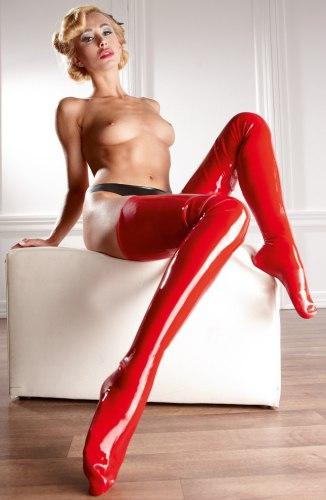 Latexové punčochy, červené