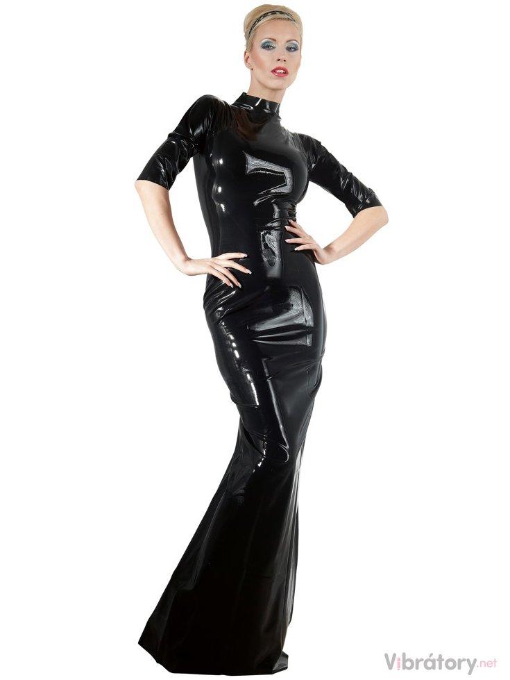 LATE X Dlouhé latexové šaty s krátkými rukávy a stojáčkem LateX, S