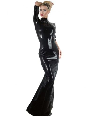 Dlouhé latexové šaty s krátkými rukávy a stojáčkem
