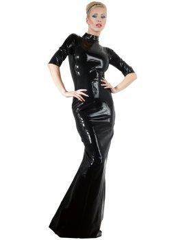 Dlouhé latexové šaty s krátkými rukávy a stojáčkem – Latexové oblečení pro ženy