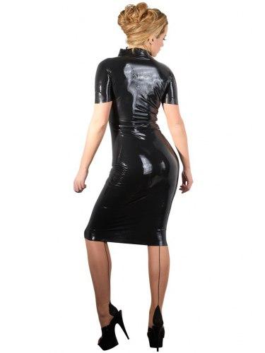 Latexové šaty s dlouhým dvoucestným zipem