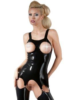 Latexový top s podvazky a otvory pro prsa – Latexové oblečení pro ženy