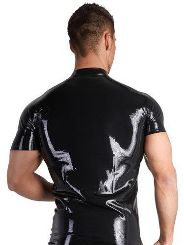 Latexové tričko s krátkými rukávy a zipem