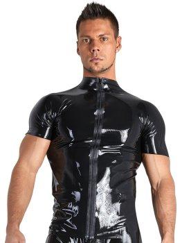 Latexové tričko s krátkými rukávy a zipem – Latexové oblečení pro muže