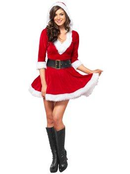 Luxusní kostým Mrs. Claus (šaty s kapucí) – Dámské kostýmy na roleplay