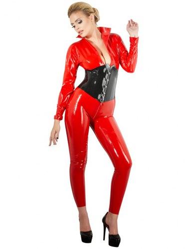 Latexový catsuit se dvěma zipy, červený