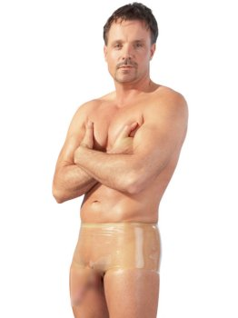 Transparentní latexové boxerky s kapsou na penis a varlata – Latexové oblečení pro muže