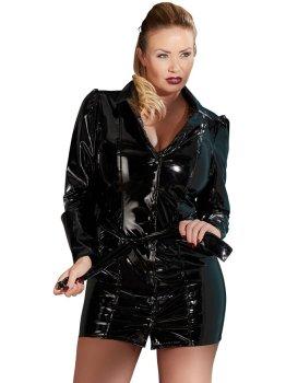 Lakovaný kabát/šaty s páskem PLUS SIZE – Dámské lakované oblečení (vinyl)