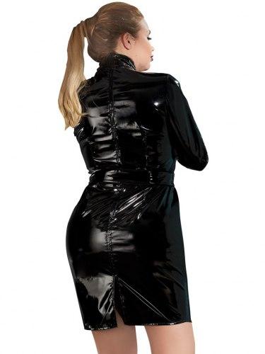 Lakované šaty s dlouhými rukávy a páskem