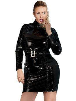 Lakované šaty s dlouhými rukávy a páskem PLUS SIZE – Dámské lakované oblečení (vinyl)