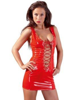 Červené lakované minišaty s hlubokým výstřihem a šněrováním – Dámské lakované oblečení (vinyl)