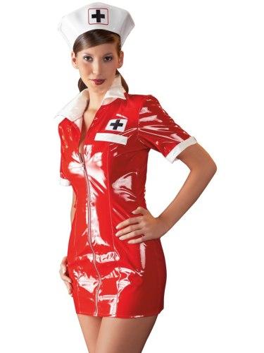 Lakovaný kostým Zdravotní sestra - červené šaty a čepeček