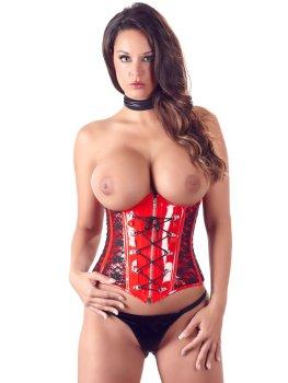 Červený lakovaný korzet s krajkou, šněrováním a odhalenými ňadry – Dámské lakované oblečení (vinyl)