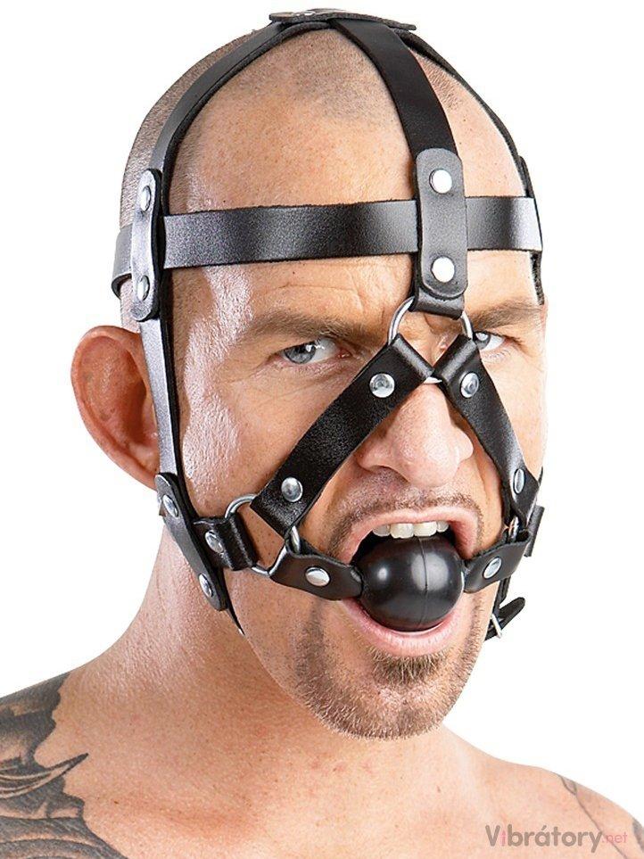 Kožený postroj na hlavu s roubíkem ZADO