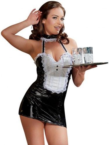 Lakovaný kostým Servírka - černo-bílé minišaty s bílou krajkou