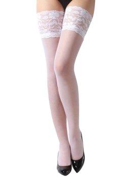 Samodržící punčochy s krajkovým lemem, bílé – Samodržicí dámské punčochy