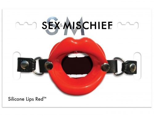Roubík ve tvaru úst na deepthroat Silicone Lips Red