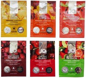 Degustační balíček lubrikačních gelů System JO - mix ovocných příchutí – Lubrikační gely s příchutí (ideální na orální sex)