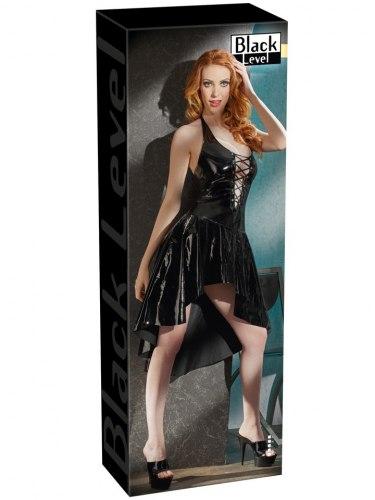 Lakované šaty s asymetrickou sukní a šněrováním