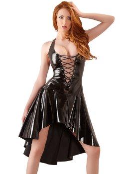 Lakované šaty s asymetrickou sukní a šněrováním – Dámské lakované oblečení (vinyl)