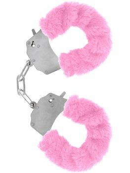 Pouta na ruce s plyšovým kožíškem, růžová – Pomůcky pro úchvatnou bondage (svazování)